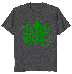 Rotpod dark heather t shirt green letters