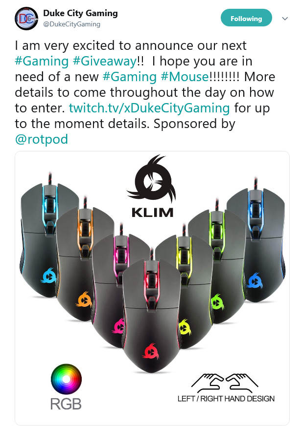 rotpod dukecitygaming mouse giveaway